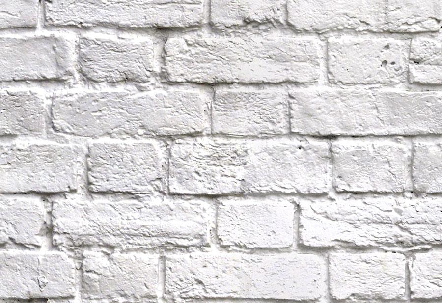 White brick effect wallpaper wall mural design close up detail view