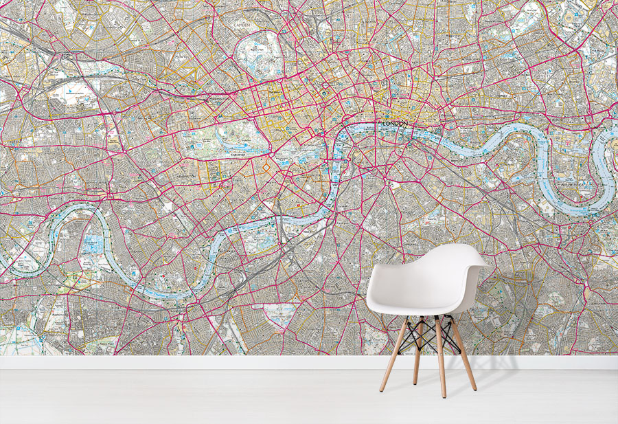 Custom OS Explorer Map Wallpaper Mural in situ with white chair