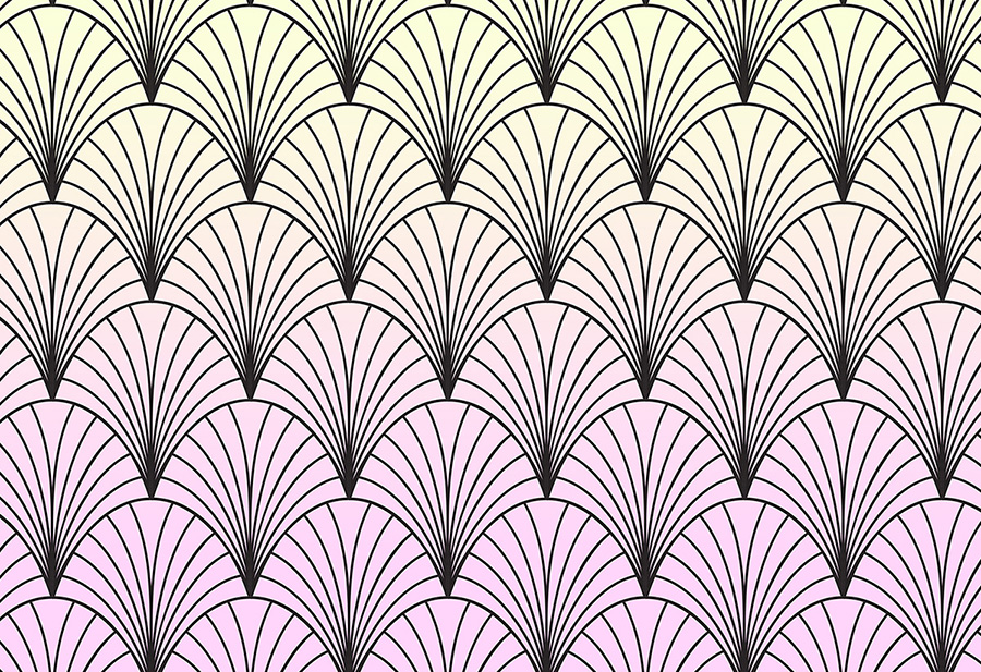 Sherbet Deco Shells Ombre Wallpaper Mural Design