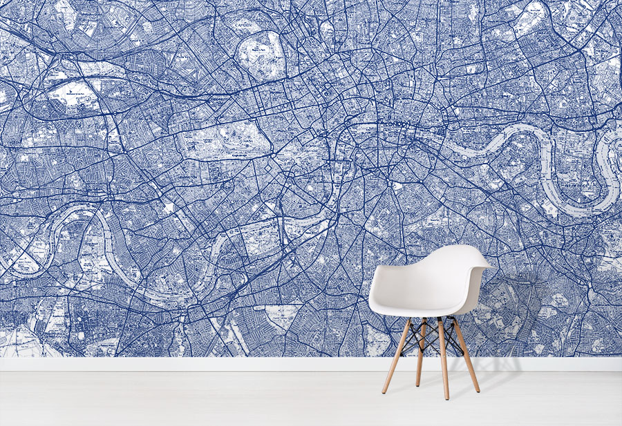 Blue Custom Explorer Map Wallpaper wall mural in situ with white chair