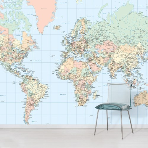Pastel World Map Wallpaper Wall mural in situ with chair