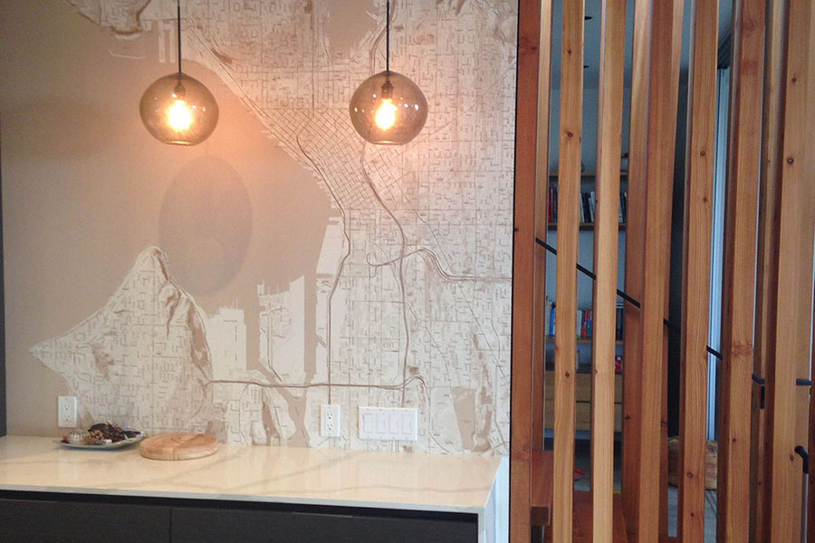Custom made Seattle map wallpaper mural in hallway with lights