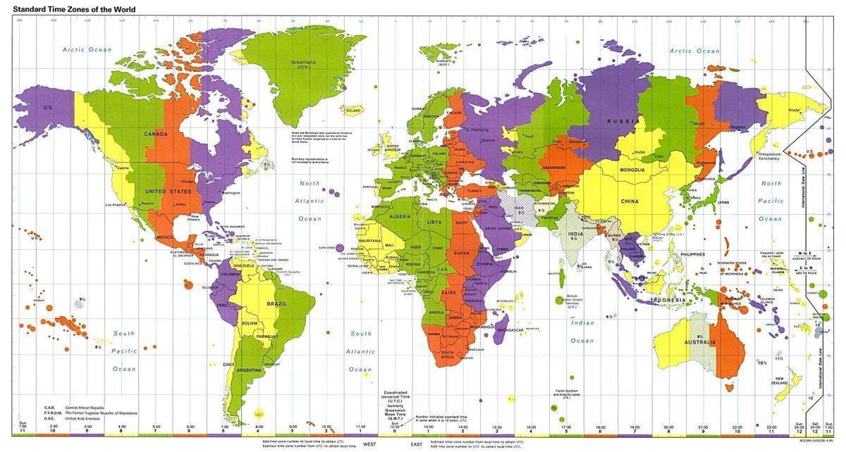 Tijdzones op kaart