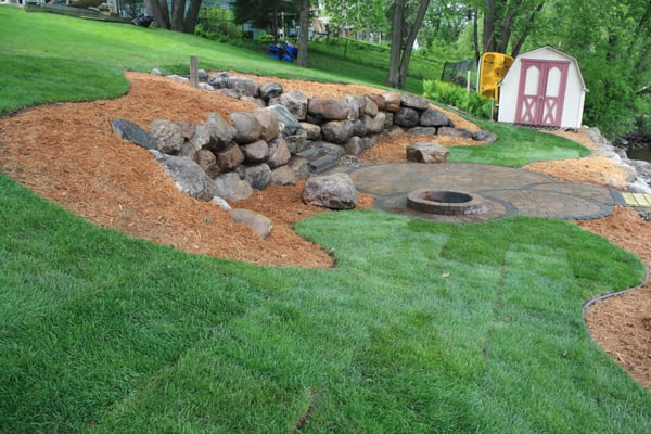 Mississippi restoration yard, 30' boulder wall, 11 steps ... on Uphill Backyard Ideas  id=50309