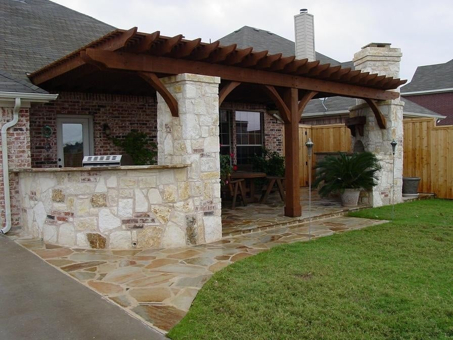 Outdoor Kitchen Flagstone Patio Fireplace & Patio Cover ... on Covered Outdoor Kitchen With Fireplace id=99062