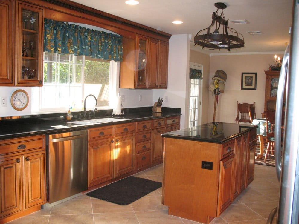 Maple Whiskey Black Glaze Cabinets - Granite Countertop - Yelp on Kitchen Countertops With Maple Cabinets  id=47558