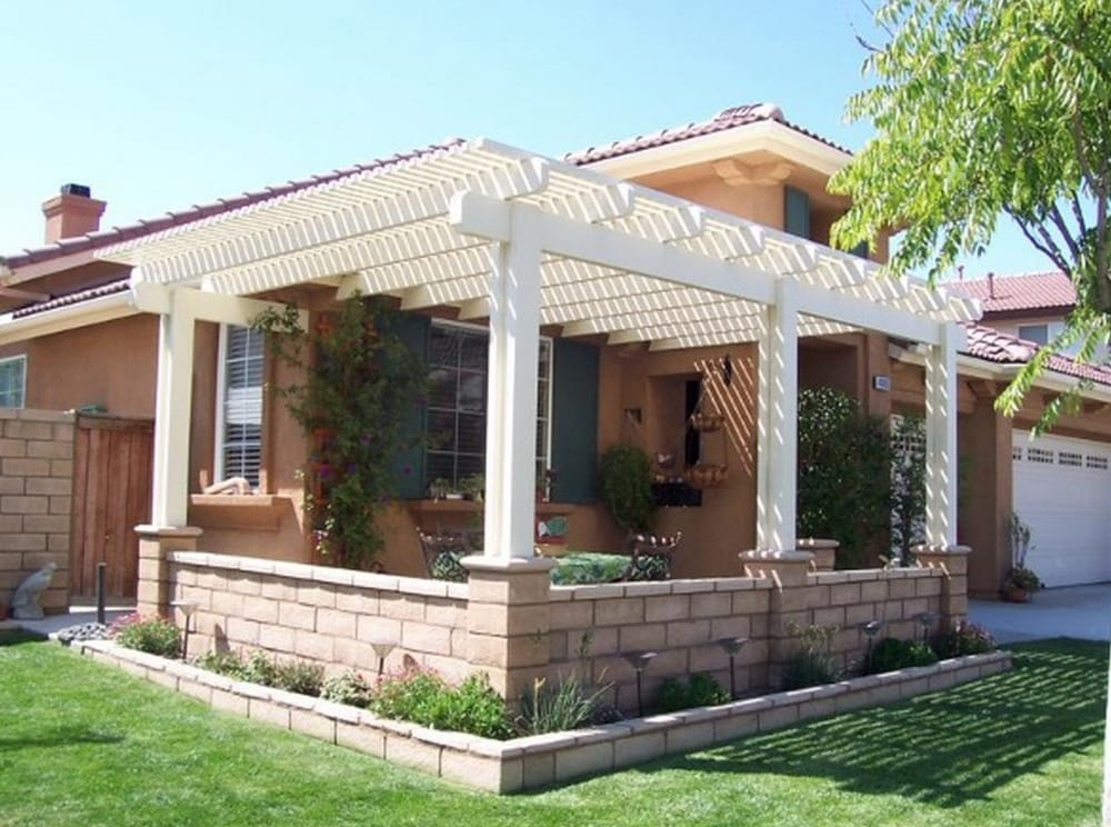 Lattice style patio cover in front yard. - Yelp on Front Yard Patio id=45819