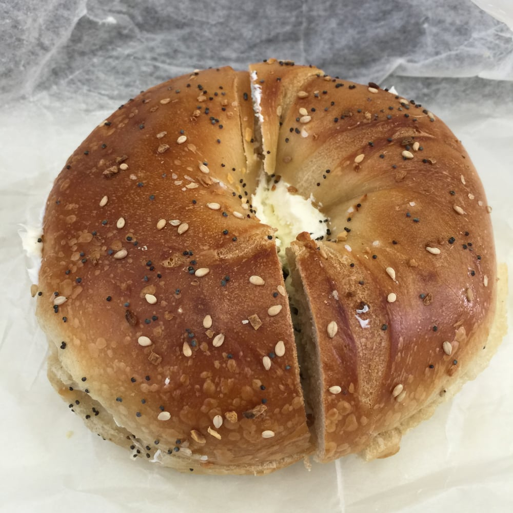 Photo of Top Bagel - Bayside, NY, United States. Whole Wheat Everything Bagel with Cream Cheese