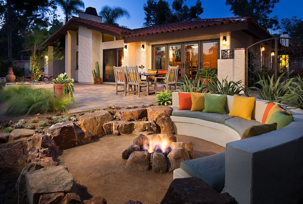 Sunken patio with decomposed granite and boulders creating ... on Decomposed Granite Backyard Ideas id=83975