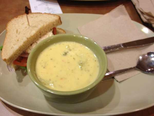 tuna on honey wheat with a bowl of broccoli cheddar Yelp