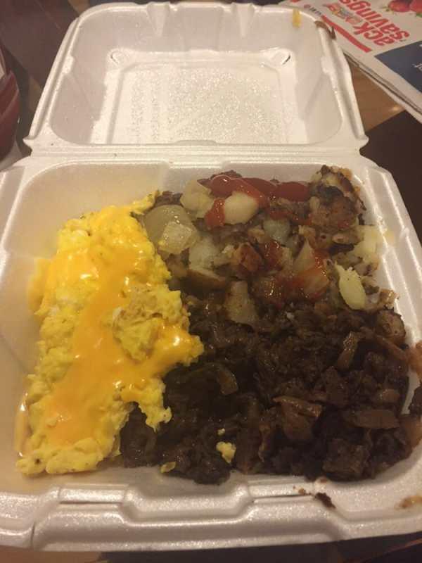 Steak and eggs.. I hate American cheese tho.. Wish they ...