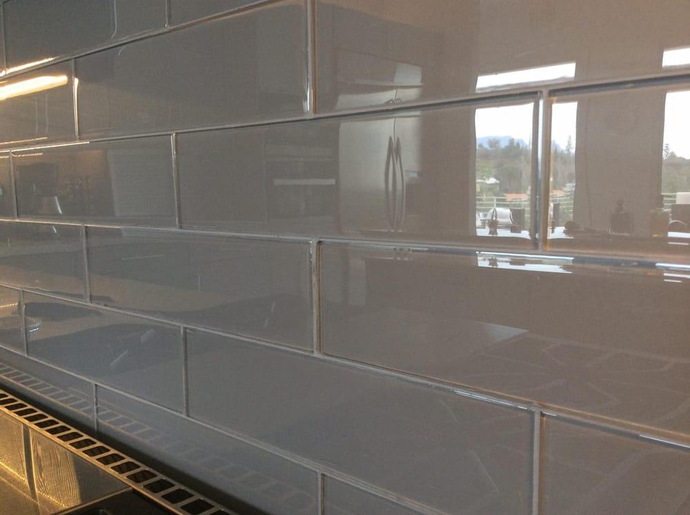 gray glass subway tile backsplash