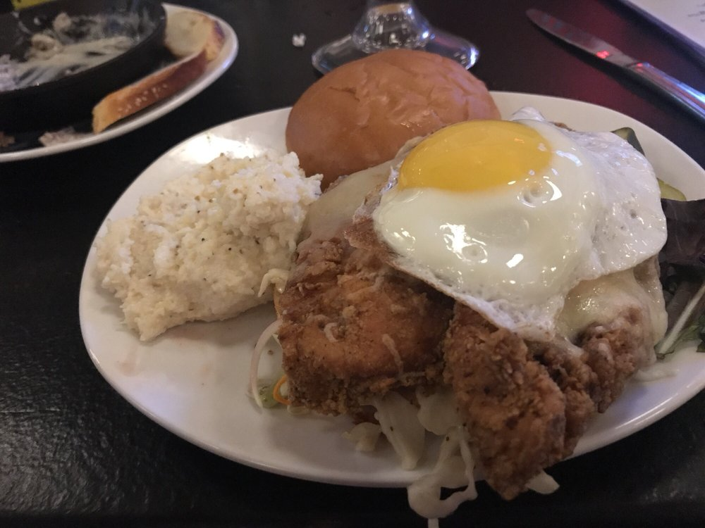 Fried Chicken Salad W/ Egg Added; Grits Instead Of Fries
