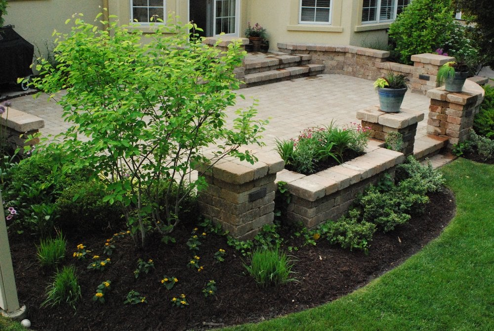 Custom Stone Patio, Columns, lighting, retaining walls ... on Patio Stone Wall Ideas  id=45146