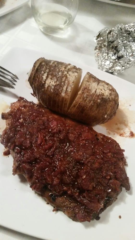 Rib Eye Steak with Tomato Bacon Jam & Acording Parmesan ...