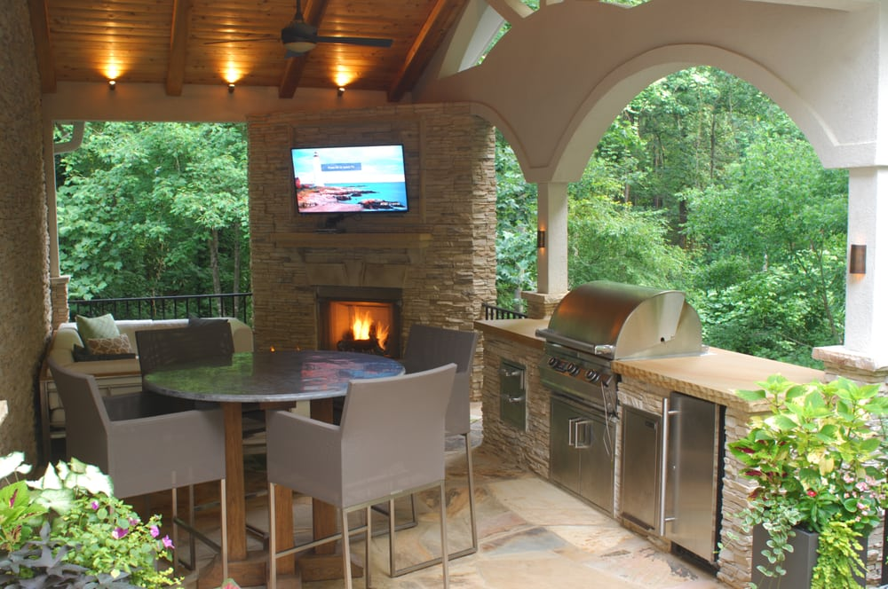 Fireplace, Grill Station, Stone Patio, and Covered ... on Patio Grill Station  id=99817