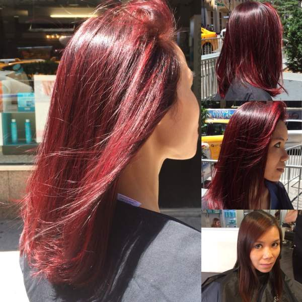 Hair by Ashley. Red base and fire engine red highlights - Yelp