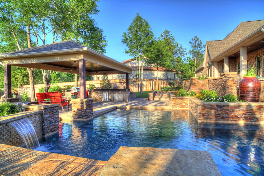 Pool, Pavilion, Paver Patio, Split Face Stone Veneer ... on Outdoor Kitchen By Pool id=34667
