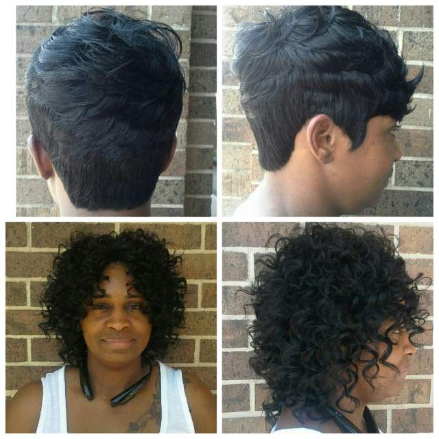 2 different looks, short hair =quick weave, curly do = sew