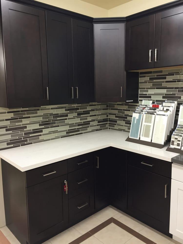 Espresso Maple Shaker Cabinets w/ Snow White Quartz ... on Maple Cabinets White Countertops  id=43685