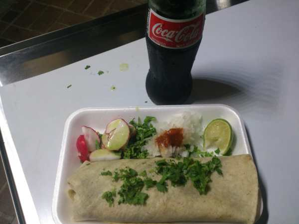 Rolled taco al pastor & Mexican Coca Cola made with cane ...