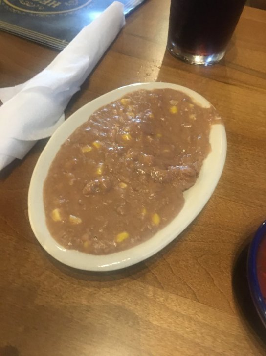 Photo of Hecho En Waco - Waco, TX, United States. Refried beans and corn