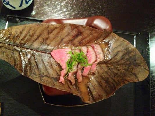 Beef houbayaki on a magnolia leaf