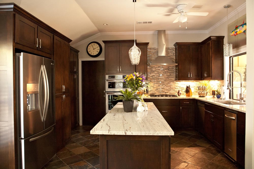 Slate tile flooring, granite countertops, custom maple ... on Backsplash For Maple Cabinets And Black Granite  id=32430