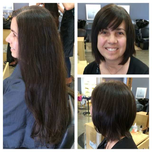 our client donated her hair and stylist, charity dawson