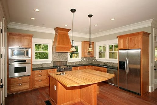 Virginia Highlands kitchen Cherry cabinets, honed granite ... on Countertop For Maple Cabinets  id=38733