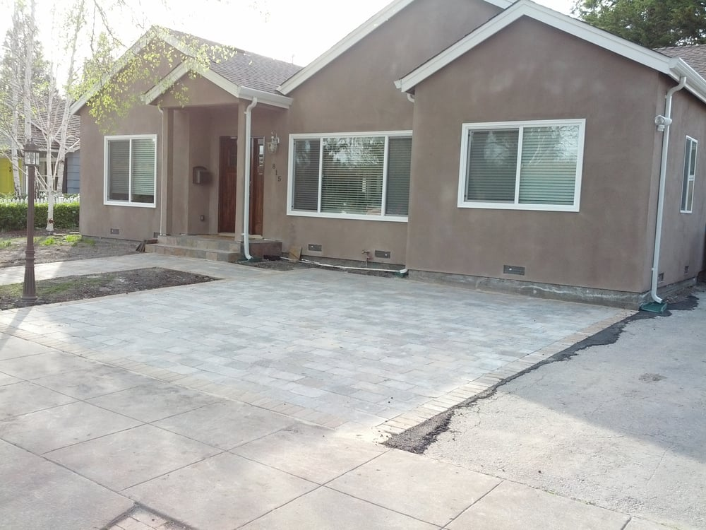 Paver patio installed in our front yard by Ideal ... on Concrete Front Yard Ideas id=49388