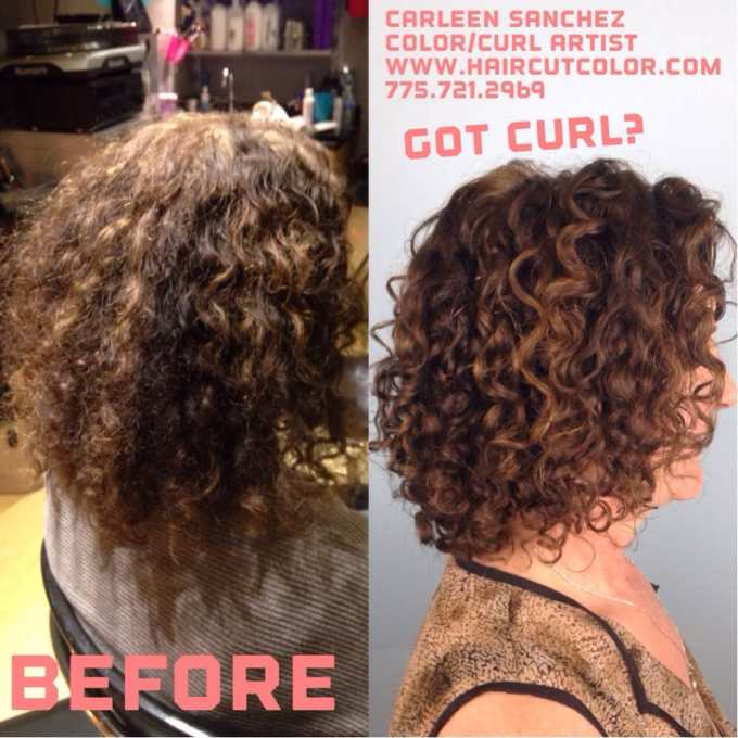 before and after curly hair artistry haircut makeover by carleen