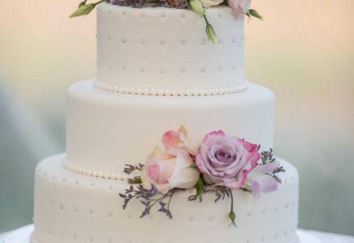 My Simple 3 Tier White Fondant Wedding Cake With Some Blush And