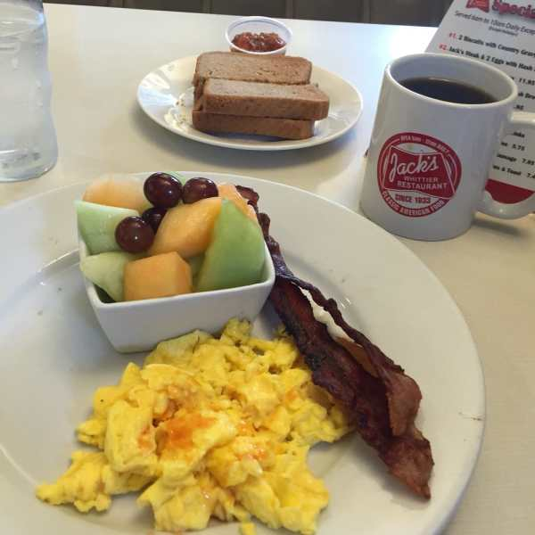 Bacon, eggs, fruit and a little toast. - Yelp