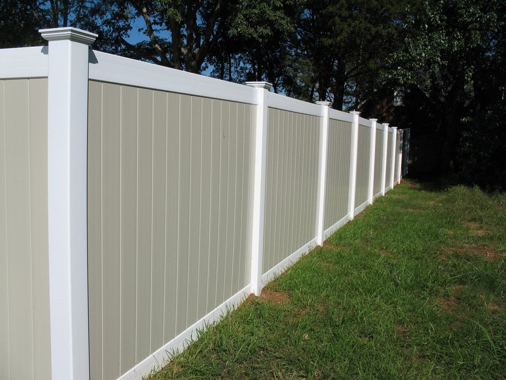 Two tone PVC privacy fence Yelp