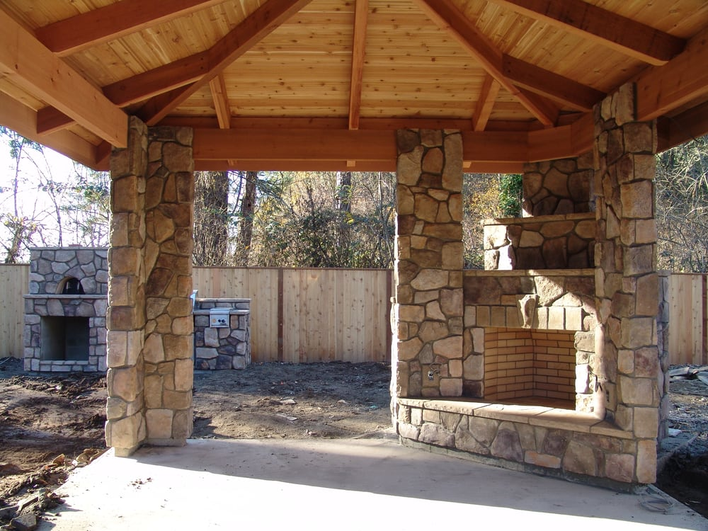 outdoor fireplace, outdoor living, column, stone veneer ... on Covered Outdoor Kitchen With Fireplace id=61297