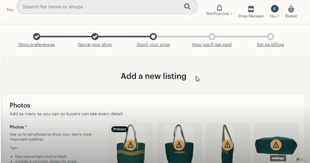 etsy listing