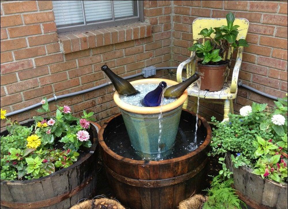 diy garden fountain ideas Wine Bottle Fountain - DIY Fountain Ideas - 10 Creative