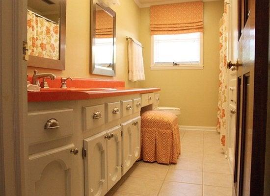 Modern bathroom orange and white