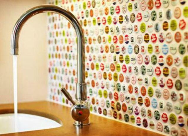 Backsplash ideas   bottle caps