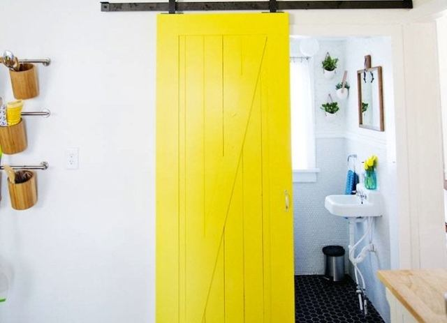 Yellow-sliding-door