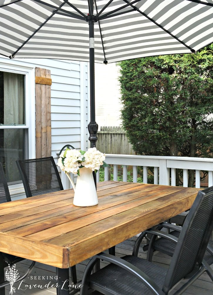 diy outdoor patio table DIY Patio Table with Umbrella - DIY Patio Table - 15 Easy