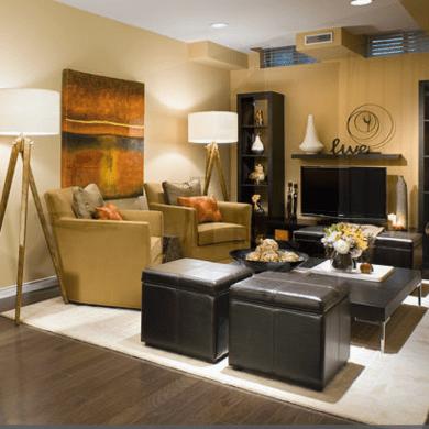 Living room basement makeover