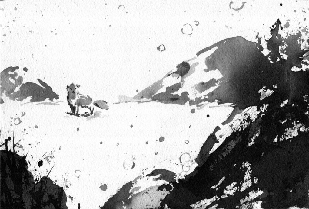 Imagem em preto e branco de uma raposa na neve.