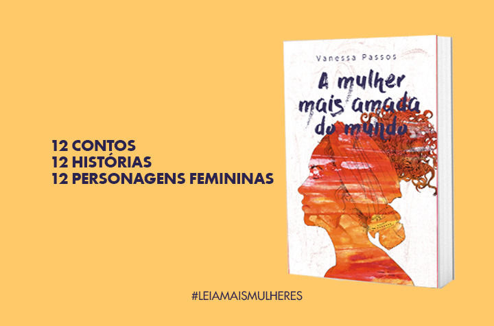 Imagem do livro (capa mostra a silhueta de uma mulher negra em tons laranjas) ao lado do texto: 12 contos, 12 histórias, 12 personagens femininas.