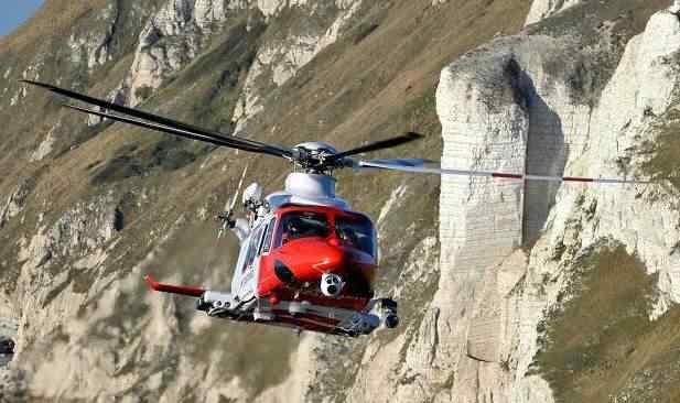 O helicóptero que levou a cientista atordoada de volta à civilização
