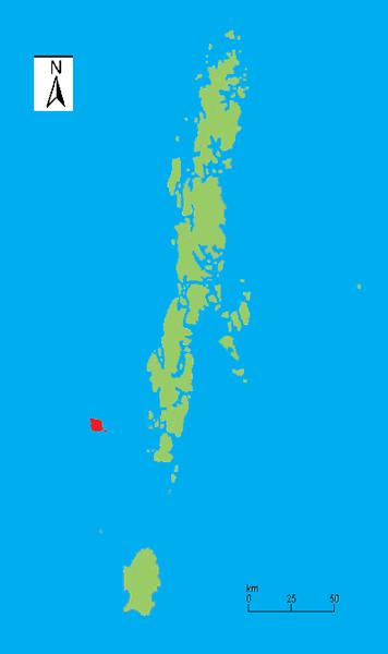 Neste desenho, podemos ver a posição da ilha sentinela (em vermelho) junto ao arquipélago Nandaman