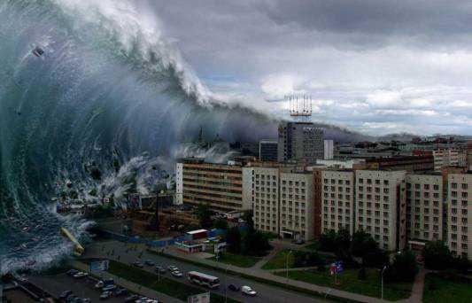 Isso é mais ou menos o que ocorreria num Mega Tsunami