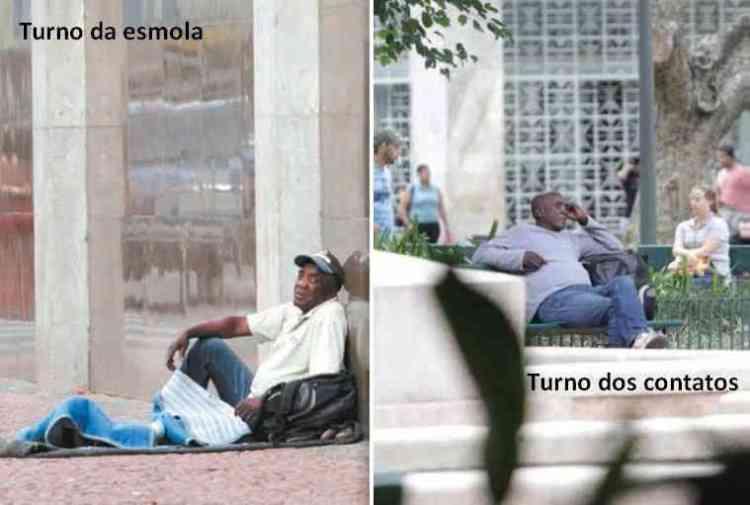 Imagens mostram o mesmo homem com roupas diferentes