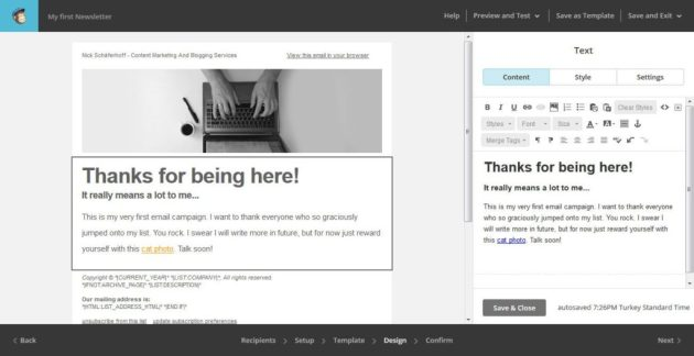 MailChimp Add Email Content